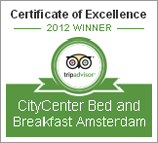 CityCenter Bed and Breakfast Amsterdam Award 2012