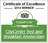 CityCenter Bed and Breakfast Amsterdam Award 2014