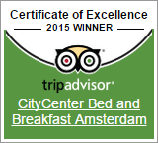 CityCenter Bed & Breakfast Amsterdam Award 2015