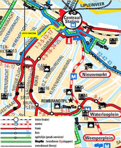 Amsterdam Bed and Breakfast CityCenter public trasport map